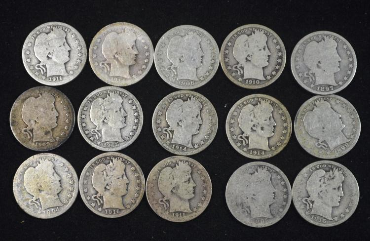 Roll of 40 Barber Silver Quarters