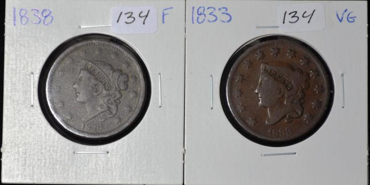 1833 & 1838 Coronet Head Large Cents