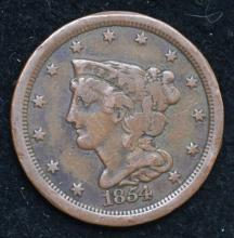 1854 Braided Hair Half Cent