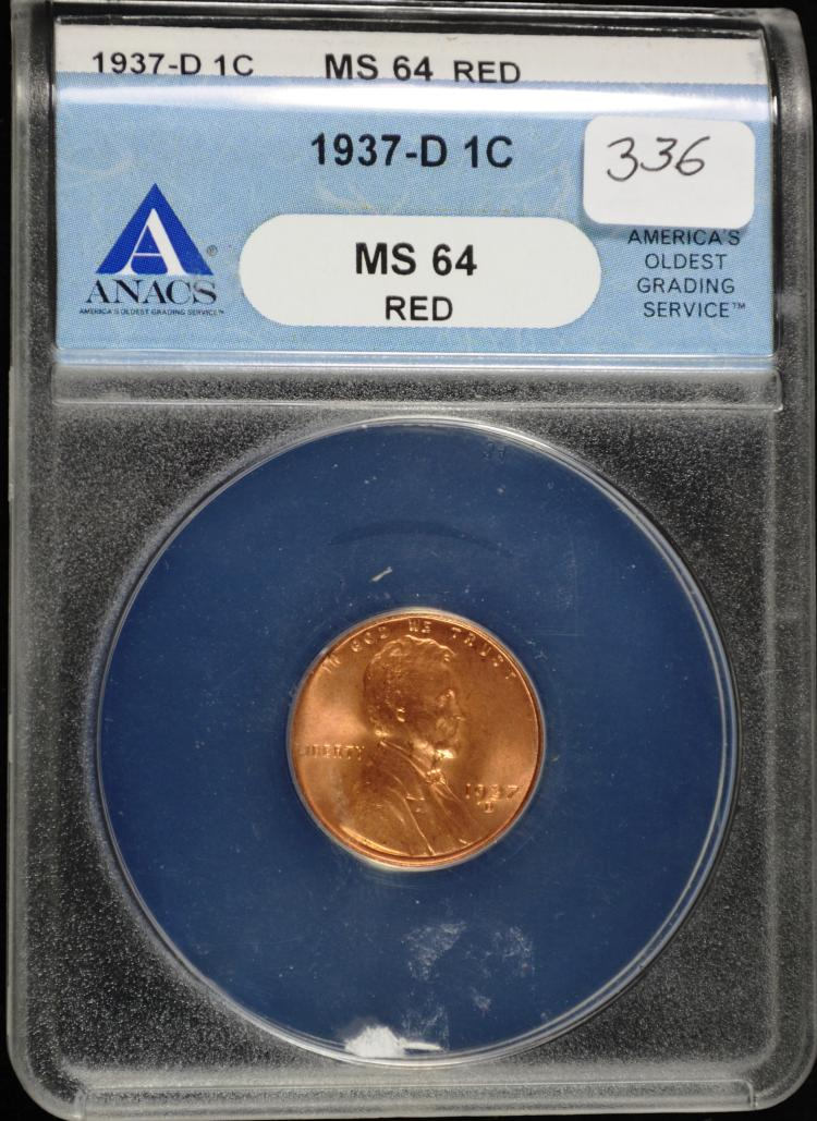1937-D Lincoln Cent MS64RD ANACS