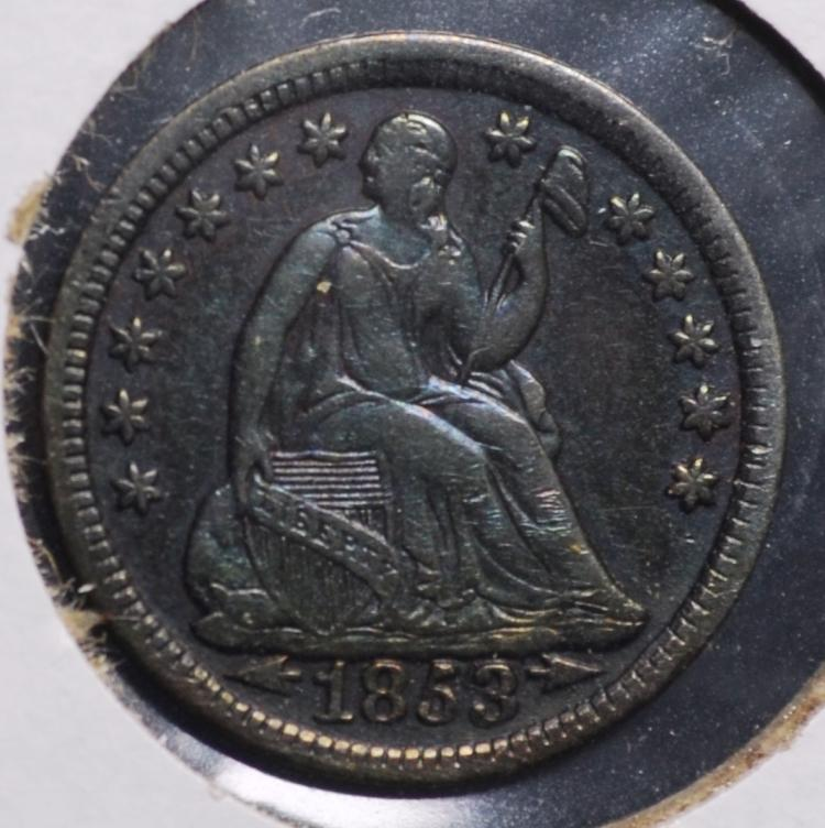 1853 Seated Half Dime with Arrows