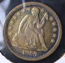 1858 Seated Liberty Dime
