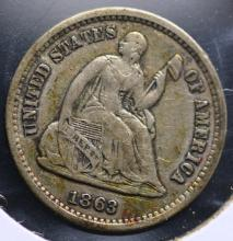 1863-S Seated Liberty Dime