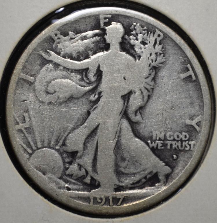 1917-D Obv Walking Liberty Half Dollar