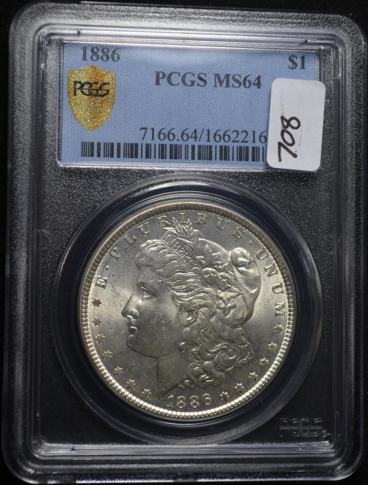 1886 Morgan Silver Dollar MS64 PCGS
