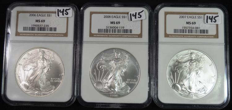 2006-2008 Silver Eagles MS69 NGC