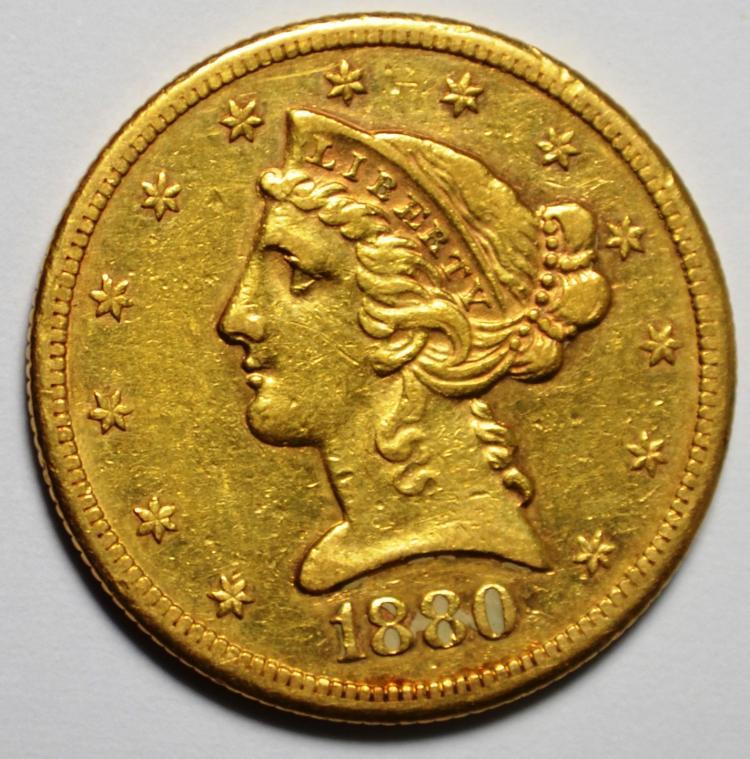 1880-S  $5 Gold Liberty