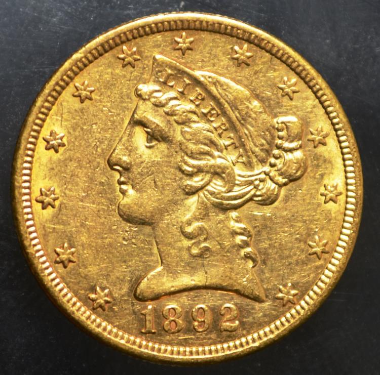 1892-S $5 Liberty Gold