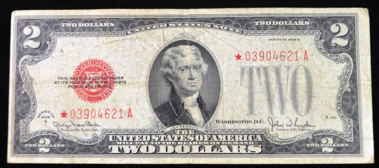 1928 G $2 Red Seal Star note