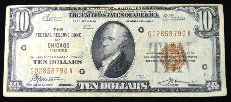 1929 $10 Chicago, IL Note