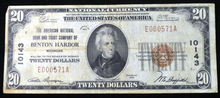 1929 $20 Benton Harbor MI note