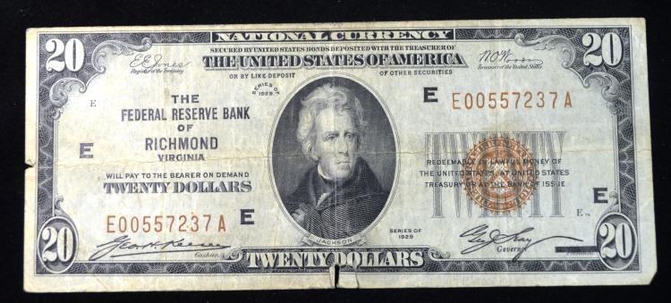 1929 $20 Richmond VA note
