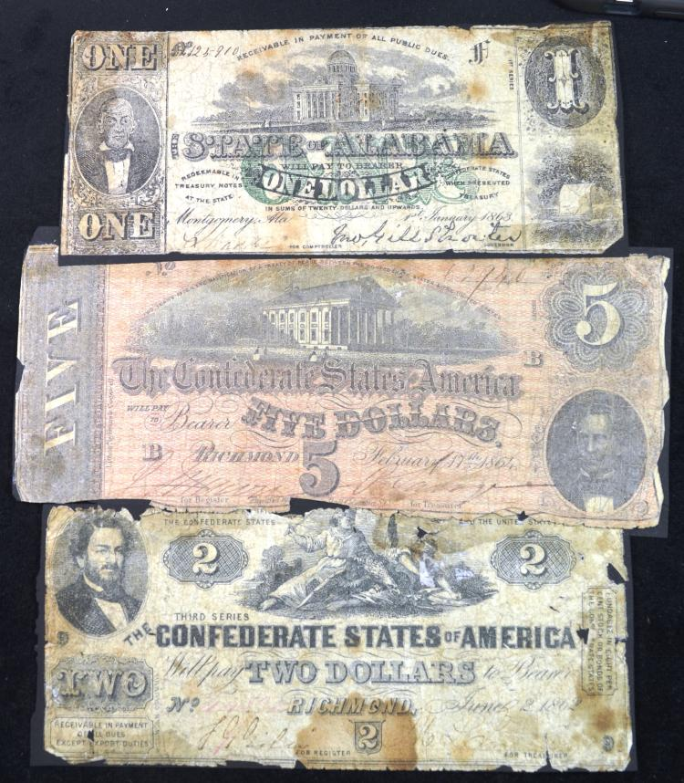 3 Confederate issued notes.