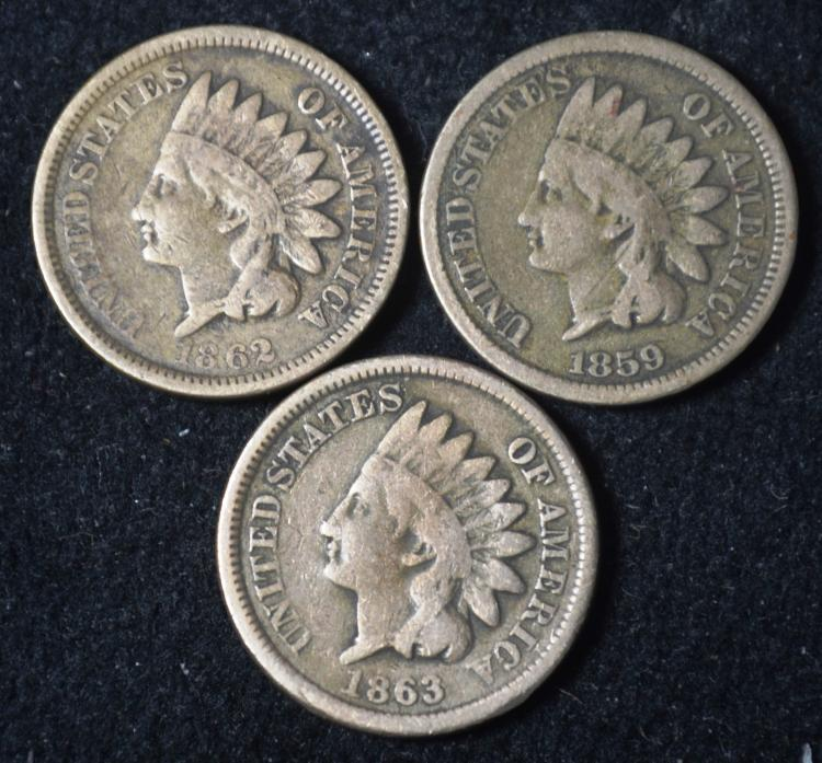 1859, 62 & 63  Indian Head Cents