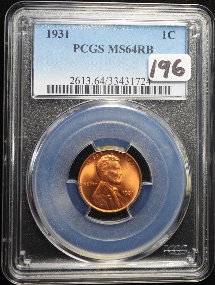 1931 Lincoln Cent MS-64 RB PCGS