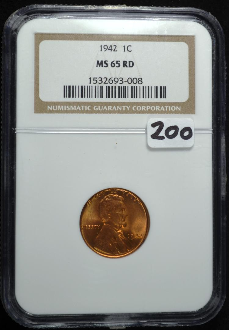1942 Lincoln Cent MS-65 RD NGC
