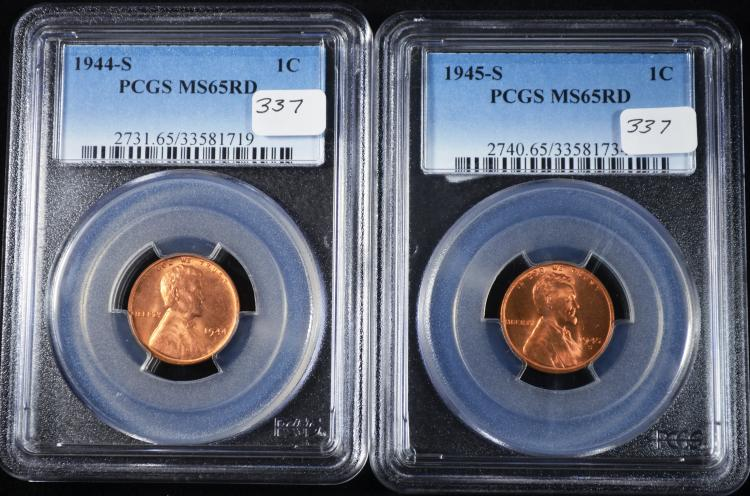1944-S & 1945-S Lincoln Cent MS-65 RD PCGS