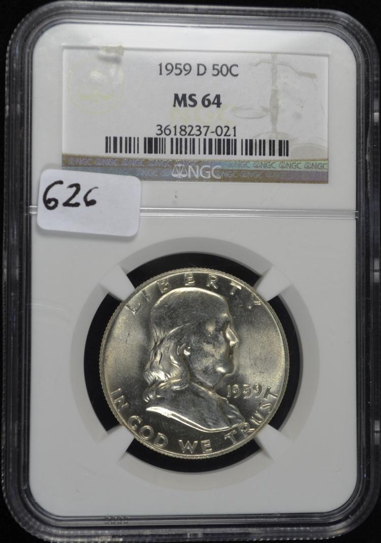 1959-D Franklin Half Dollar MS-64 NGC