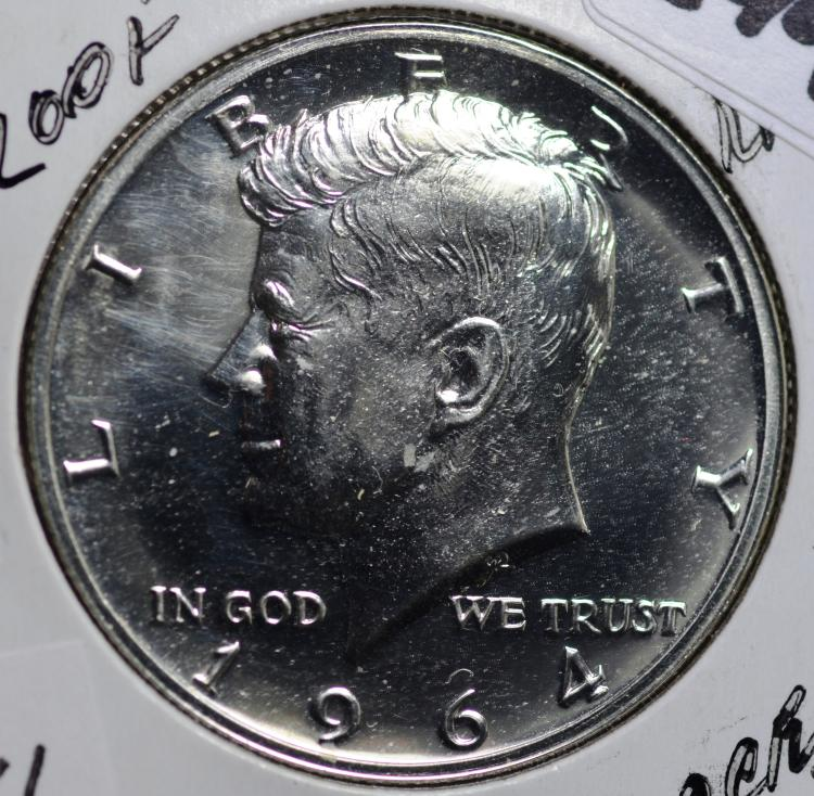 1964 Silver Proof Kennedy Half Accented Hair