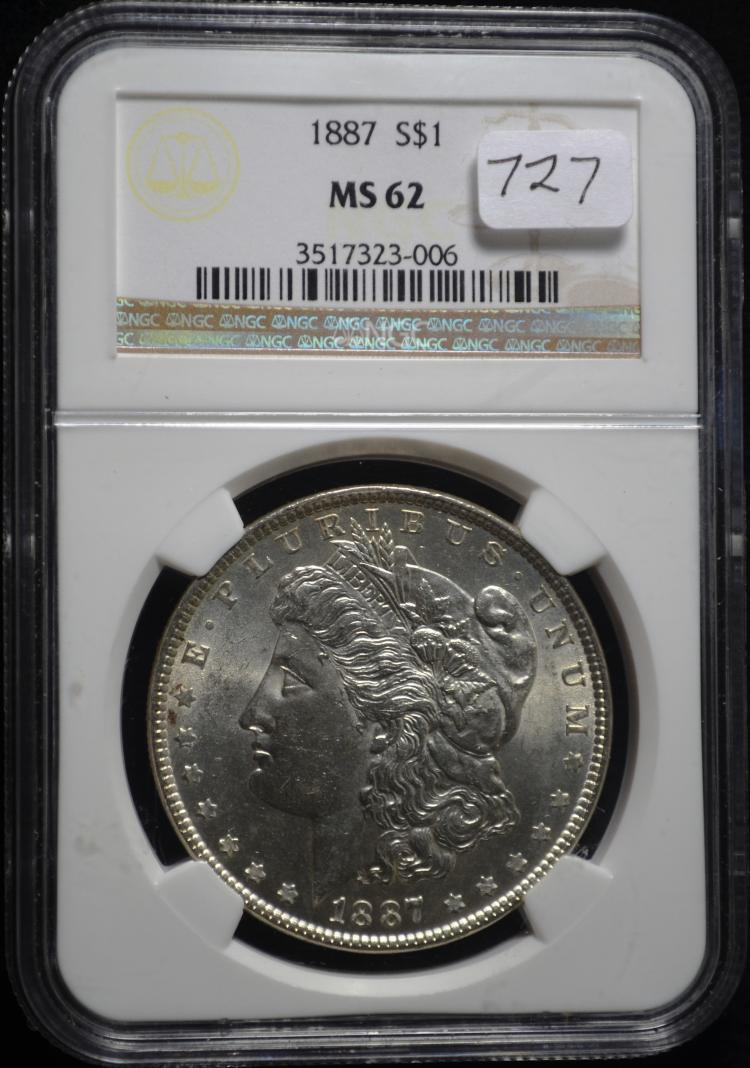 1887 Morgan Silver Dollar MS-62 NGC