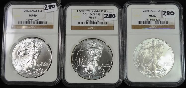 2010-2012 Silver Eagles MS69 NGC