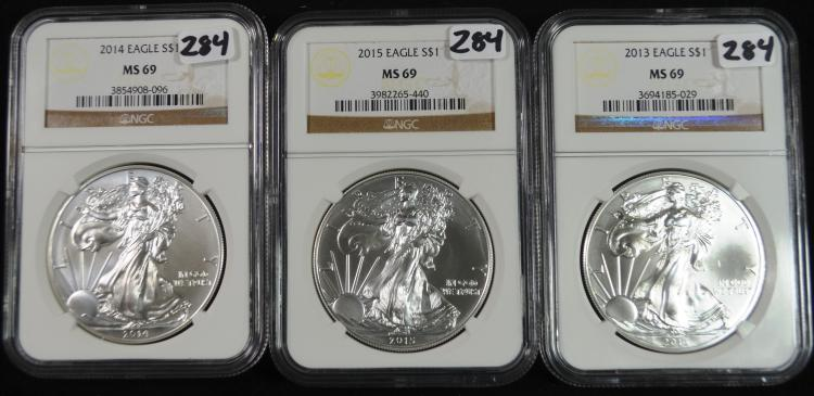 2013-2015 Silver Eagles MS-69 NGC