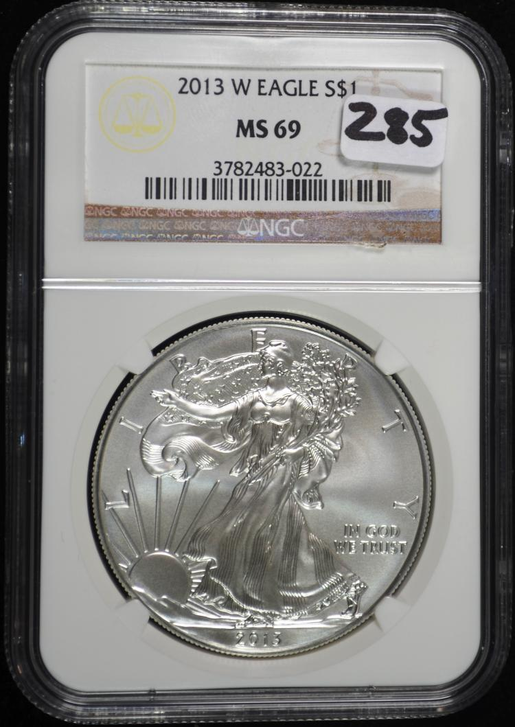 2013-W Burnished Silver Eagle MS69 NGC