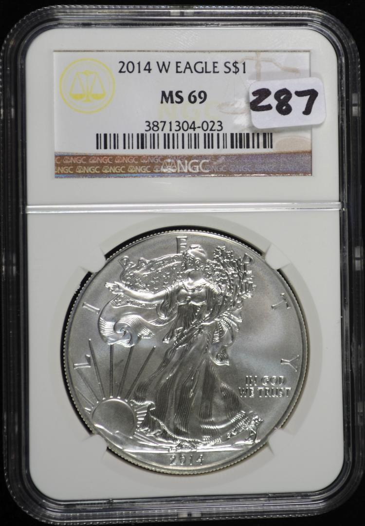 2014-W Burnished Silver Eagle MS-69 NGC