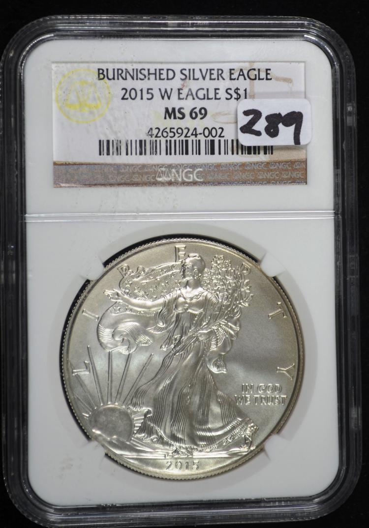 2015-W Burnished Silver Eagle MS69 NGC