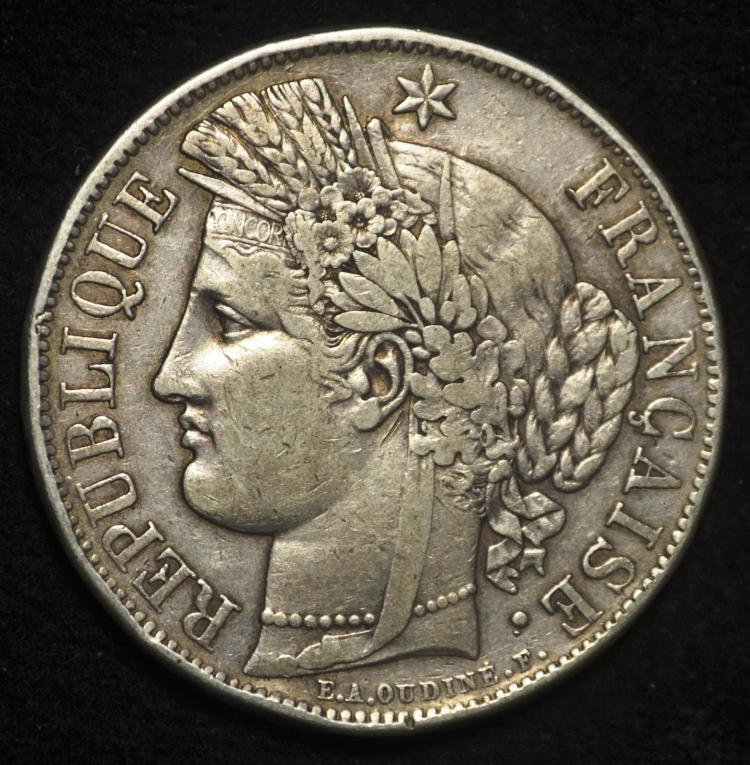 1849 Silver French 5 Francs