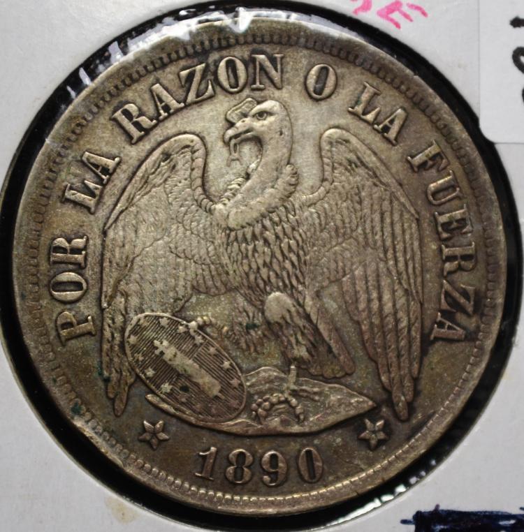 1890 Chile 1 Peso Silver
