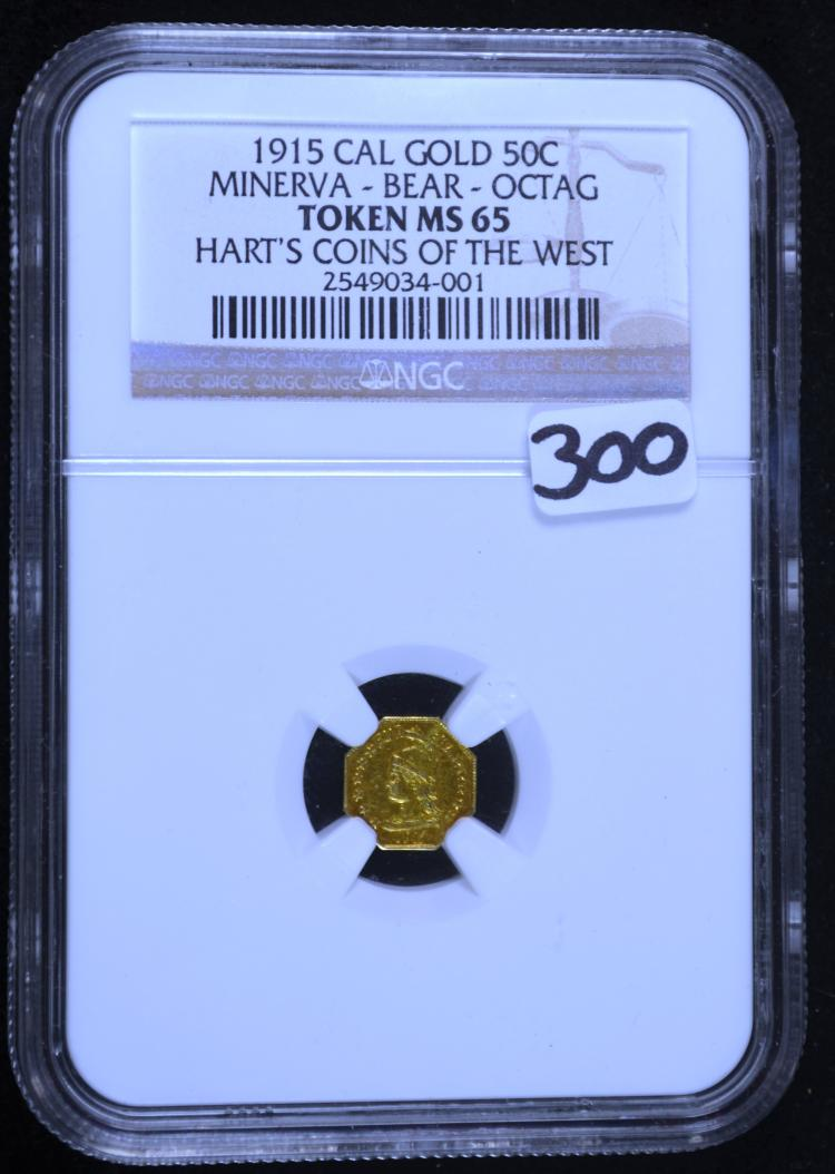 1915 50 Cent Cal Gold Harts Coins MS-65 NGC