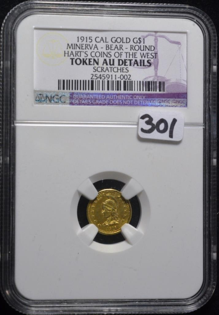 1915 Cal Gold $1.00 Token AU Details