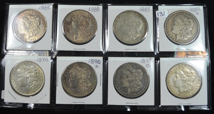 8 Different Morgan Silver Dollars