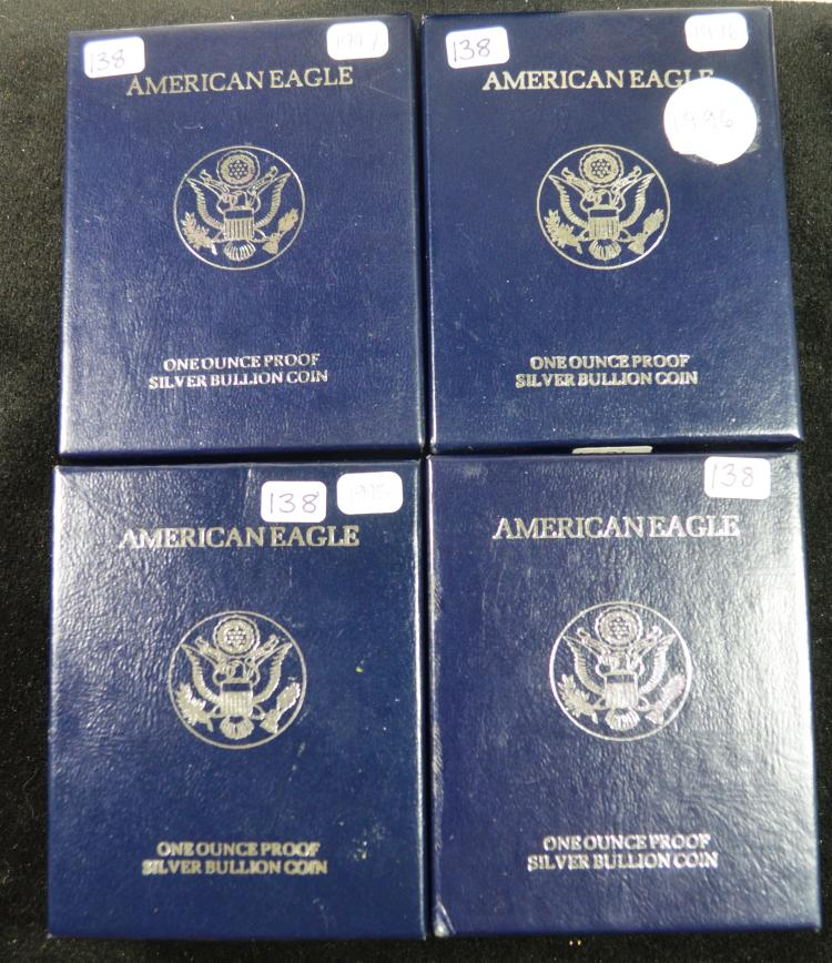 4 Proof Silver Eagles 1995-1998