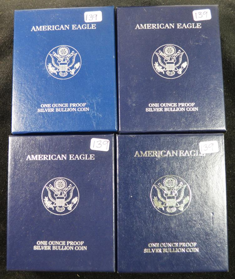 4 Proof Silver Eagles 1999-2002