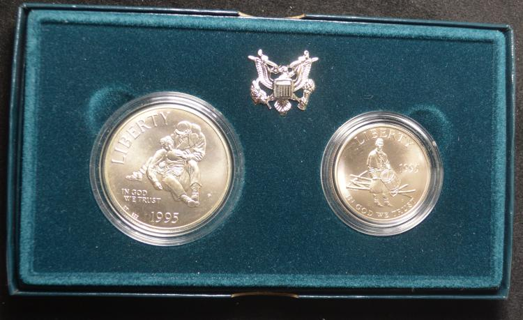 1995 Civil War 2 coin UNC Set Dollar & Half