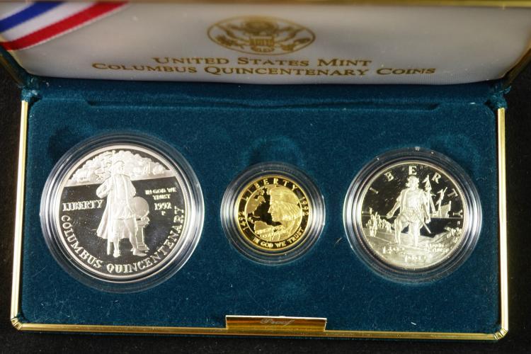 1992 Columbus 3 Coin Set Gold/Silver
