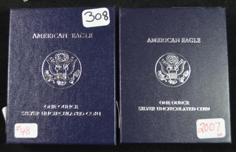 2008 & 2007 W Unc Silver Eagles