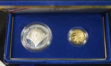 1987 2 pc Constitution Commem Silver/Gold