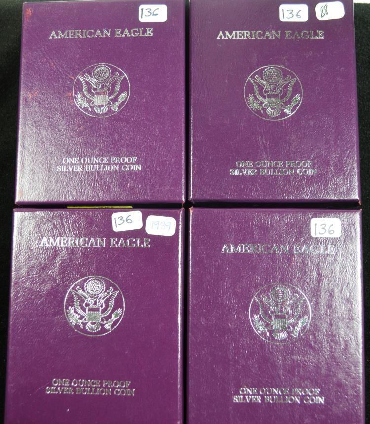4 Proof Silver Eagles 1986-1989