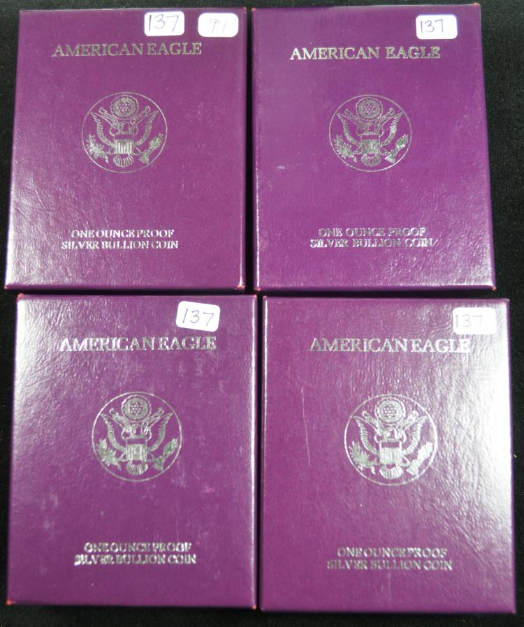 4 Proof Silver Eagles 1990-1993