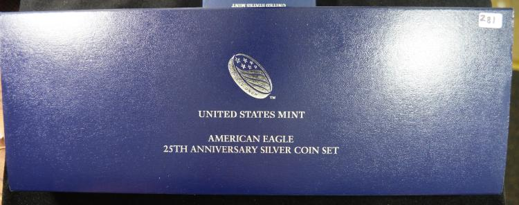 2011 5pc 25th Anni Silver Eagle Set