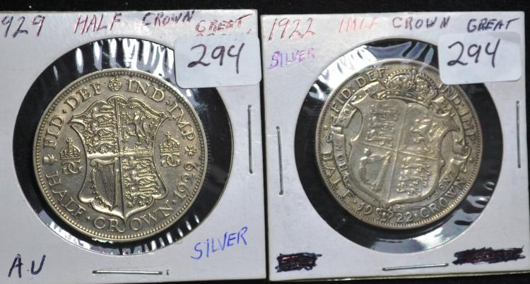 1922 & 1929 Great Britian Half Crowns