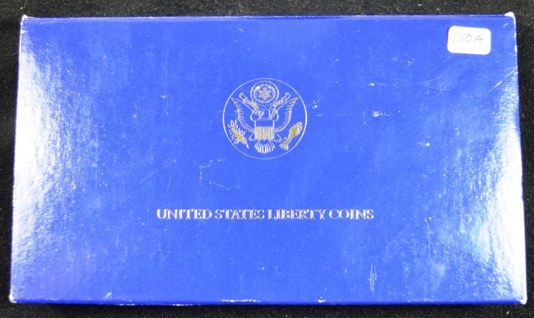 1986 3 PC Statue of Liberty Set Silver/Gold