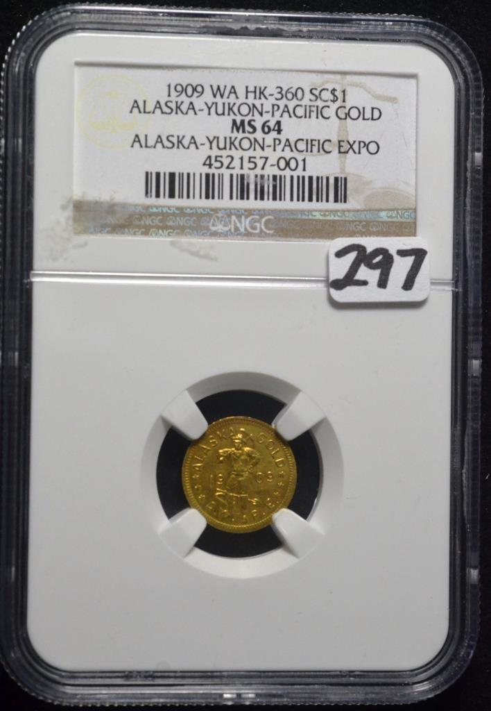 1909 Alaska-Yukon Expo $1.00 Gold MS-64 NGC