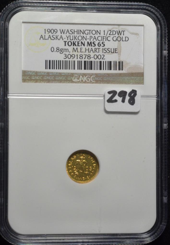 1909 Washington 1/2 dwt gold Token MS-65 NGC