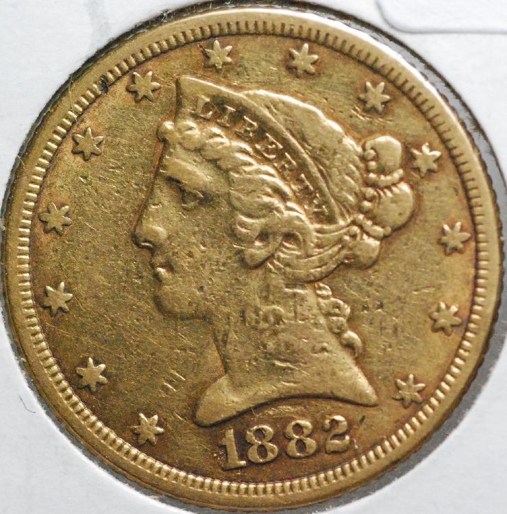 1882 United States $5.00 Half Eagle Gold