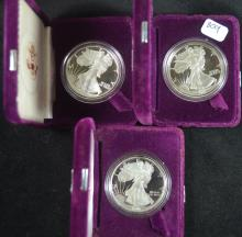 Lot of 3 Proof Silver Eagles 1889, 90 and 91