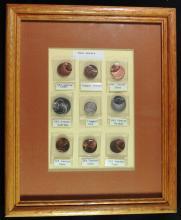 Set of 9 Framed Error Coins